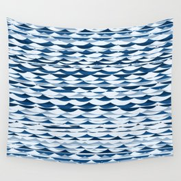 Glitch Waves - Classic Blue Wall Tapestry