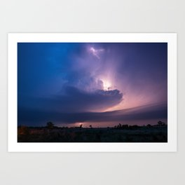 Lighthouse - Lightning Reveals Towering Storm Cloud After Dark in Oklahoma Art Print