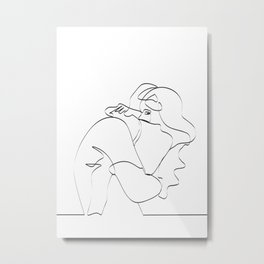 Couple continuous line draw Metal Print