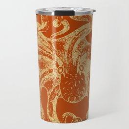 Gold octopus on burnt orange background Travel Mug