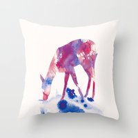 fawn Throw Pillows featuring Fawn by Andreas Lie