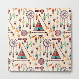 Aztec Tribal Seamless Pattern wiht Dreamcatcher and Arrows Metal Print