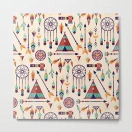 Aztec Tribal Seamless Pattern wiht Dreamcatcher and Arrows Metal Print