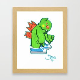 Kaiju Food Monster Pizzaback Framed Art Print
