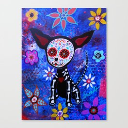 Mexican Dia de los Muertos Chihuahua Painting Canvas Print