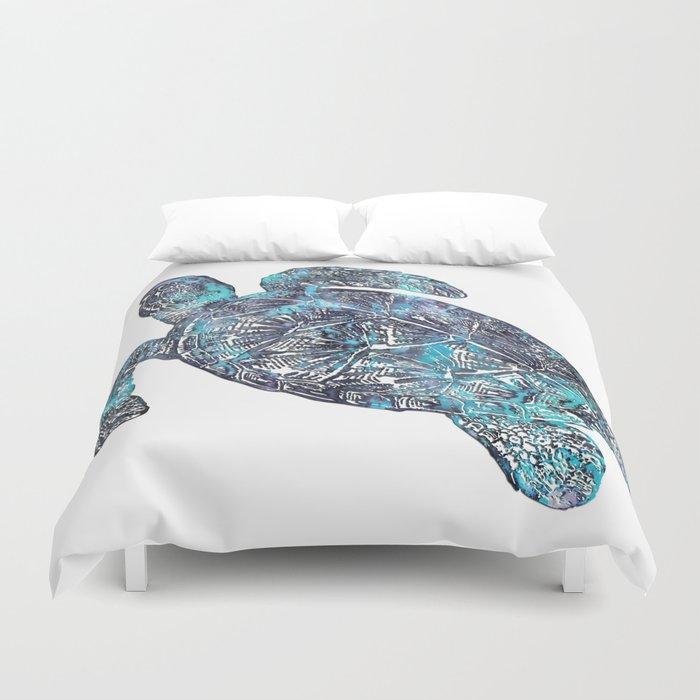 Sea Turtle Blue Watercolor Art Duvet Cover