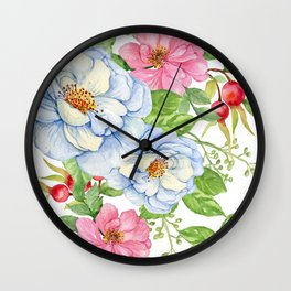 Exquisite Floral Pattern in Pastel Blues and Pinks Wall Clock