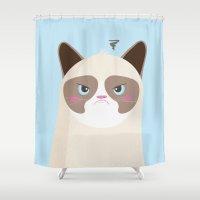 grumpy Shower Curtains featuring Grumpy Cat by Reg Silva / Wedgienet.net
