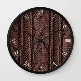 Brown braid jersey cloth texture abstracts Wall Clock