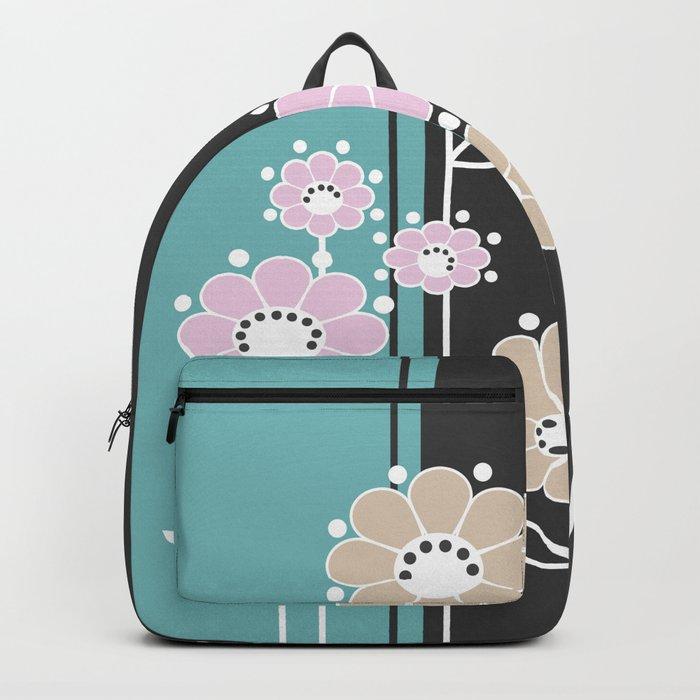 Floral applique . Retro . Backpack