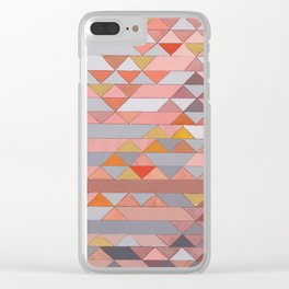 Triangle Pattern no.5 Gold, Pink and Brown Clear iPhone Case