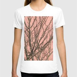 Bare tree against a pink wall T-shirt