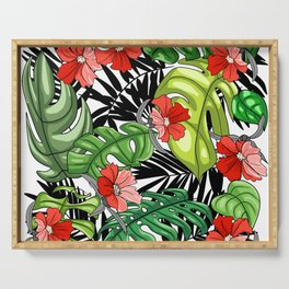 Tropical Flower Pattern - Green and Red Version Serving Tray