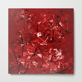 Abstract #446 Red Chaos Metal Print