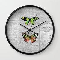 newspaper Wall Clocks featuring Newspaper and Butterflies by Juliana Zimmermann
