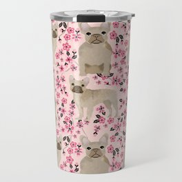 French Bulldog fawn coat cherry blossom florals dog pattern floral dog breeds Travel Mug