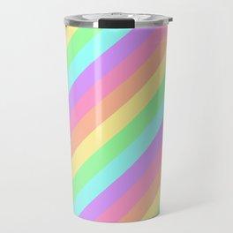 Pastel Rainbow Diagonal Stripes Travel Mug
