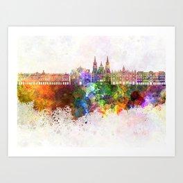 Santiago de Compostela skyline in watercolor background Art Print