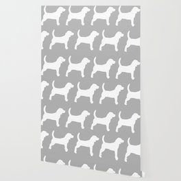 Grey and White Beagle Silhouettes Pattern Wallpaper