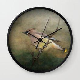 Cedar Waxwing Portrait I Wall Clock