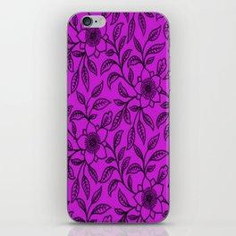 Vintage Lace Floral Dazzling Violet iPhone Skin