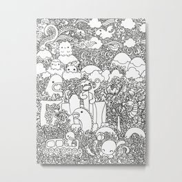 Oodles of Doodles of Singapore (White) Metal Print