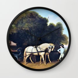 Phaeton With A Pair Of Cream Ponies And A Stable-lad - George Stubbs Wall Clock