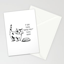 Morning begins with cat food funny illustration Stationery Cards