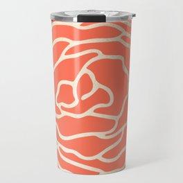 Rose White Gold Sands on Deep Coral Travel Mug