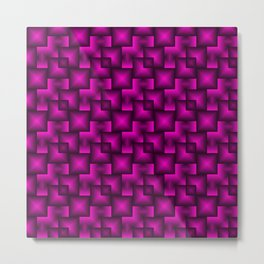 A chaotic mosaic of convex squares with pink intersecting bright rectangles and highlights. Metal Print