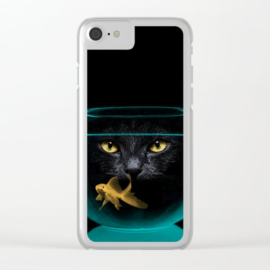 Black Cat Goldfish II Clear iPhone Case