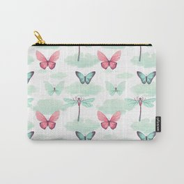 Pink teal watercolor clouds dragonfly butterfly pattern Carry-All Pouch