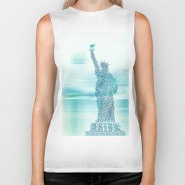 Typographic Statue of Liberty - Aqua Blue Biker Tank