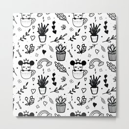 Pattern with plants, flowers and leaves, an animal in a сup. Doodle white and black Metal Print