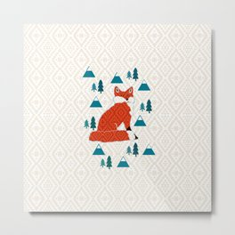 Fox on cream geometric Metal Print