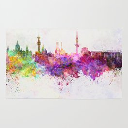 Hannover skyline in watercolor background Rug