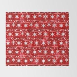 Openwork white snowflakes on red Throw Blanket