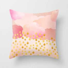 Rose gold rainshowers Throw Pillow
