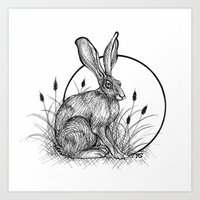 hare Art Prints featuring Hare by Rose Ellen Swenson