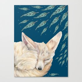 Fennec Fox Feather Dreams in Turquoise Canvas Print