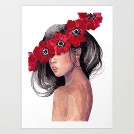 Anemone Girl Art Print