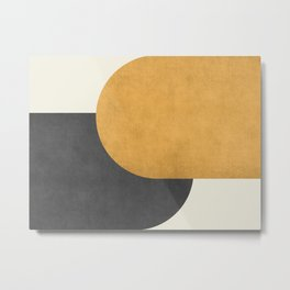 Halfmoon Colorblock - Gold Charcoal Metal Print