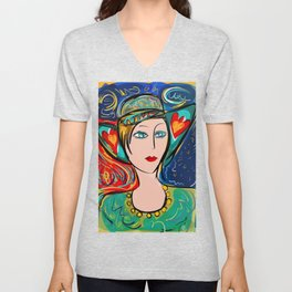 Pop Girl Art Deco with Hat and hearts Unisex V-Neck