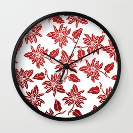 Modern red white faux glitter poinsettia elegant floral Wall Clock