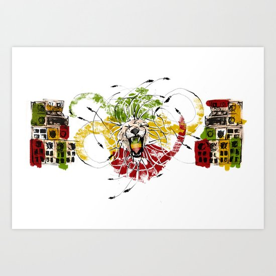 Reggae Lion Speakers Art Print