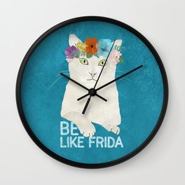Be like Frida! White cat in flower crown on sky blue Wall Clock
