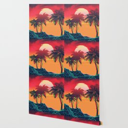 Vaporwave landscape with rocks and palms Wallpaper