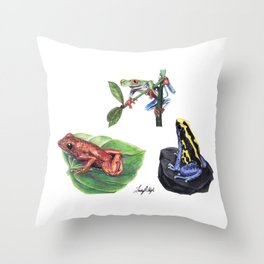 Jungle Frogs Throw Pillow