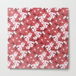 Sakura on red background Metal Print