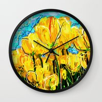 tulips Wall Clocks featuring Tulips  by sladja